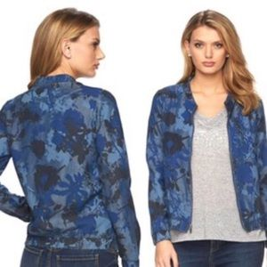 Juicy Couture Chambray Floral Camo Bomber Jacket